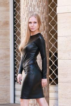 Black Leather Dress Long Sleeve Dress Eco Leather Dress | Etsy Black Leather Dresses, Leather Mini Dress, Plus Size Maxi Dresses, Plus Size Outfits, Dresses With Sleeves, Viscose Dress, Viscose Fabric, New Years Eve Dresses, Black Long Sleeve Dress