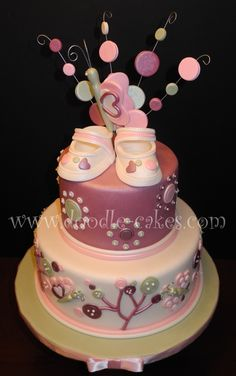 pink and rose baby shower cake