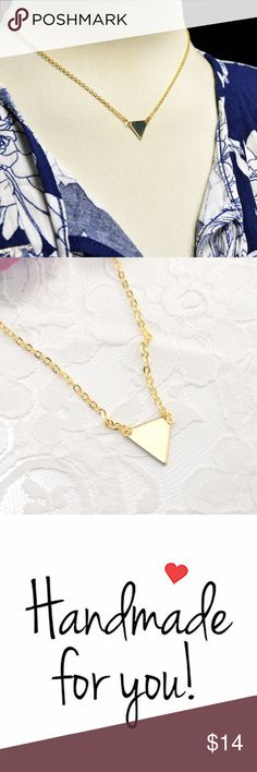 Geometric Triangle Handmade Necklace Gold Plated * Geometric Triangle Handmade Necklace Gold Plated * Delicate, High quality chain, with a lobster claw clasp. * Comes wrapped in a velvet bag and gift box*  ABOUT GOLD Plated Care: Plated jewelry is strong, yet delicate. To protect the life of your jewelry, remove when sleeping, exercising, or doing other physically strenuous activities. In addition, avoid contact with perfumes, body sweat, body oils, and other chemicals, including household…