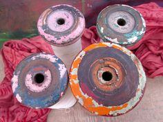 Vintage Industrial Spools  Lot B  SALE by ConstantGalore on Etsy, $21.00
