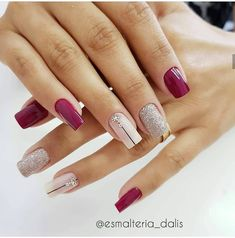 Fall Nail Art Designs, Nail Polish Designs, Dry Nails, Glitter Nails, Love Nails, Pretty Nails, Classic Nails, Short Nails Art, Manicure E Pedicure