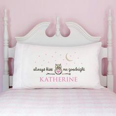 Always Kiss Me Goodnight Personalized Pillowcase---Girl - Room Decor - Kids…