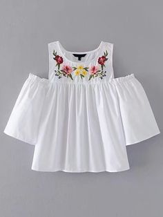 ROMWE offers Open Shoulder Flower Embroidery Top & more to fit your fashionable needs. Teen Fashion Outfits, Boho Fashion, Kids Outfits, Casual Outfits, Cute Outfits, Jugend Mode Outfits, Mode Style, Shirt Blouses, Shirts