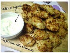 Ponto de Rebuçado Receitas: Nuggets com alho e tomilho e molho de iogurte