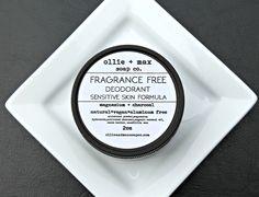 Sensitive Skin Fragrance Free Deodorant, Vegan Deodorant, Aluminum Free Deodorant,Natural Deodorant by ollieandmaxsoapco on Etsy