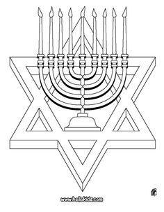 Happy hanukkah menorah and candles activity sheet for Star of david coloring page