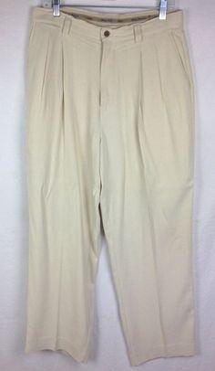 Tommy Bahama Pants Men's Beige Slik Slacks 33 #TommyBahama #KhakisChinos
