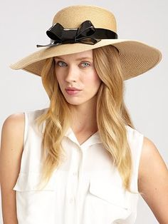 Kate Spade New York - Patent Bow Sun Hat - Saks.com  Classy hat.  #SaksLLTrip