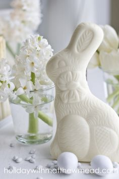 Spring Decor in White ~ Chocolate Easter Bunny, Eggs, Florals