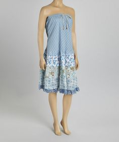 Blue Floral Peasant Convertible Skirt Dress by Blue Sky - I love it!!!!   #zulilyfinds