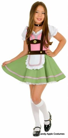 Child's Gretchen Swiss Alps Girl Costume This little Alpine miss costume includes a charming pink and green dress with puff sleeves, attached apron, suspenders, white petticoat and velvet choker.