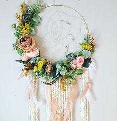 Floral Dream catcher, Dream catcher, Floral Wall Hanging, Bohemian Dreamcatcher, Nursery Dream catcher, Flower Dreamcatcher, Modern Wall Art