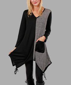 Look at this #zulilyfind! Gray & Black Color Block Sidetail Tunic - Plus #zulilyfinds