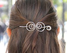 Rustic copper hair barrette wire hair slide ponytail by Kapelika