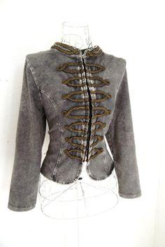 Vintage 80s Braided  jacket Gothic Military jacket by shmooozin,