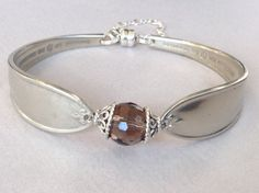 H.A. Erbe Silver Plate Bent Spoon with Faceted Crystal Bead