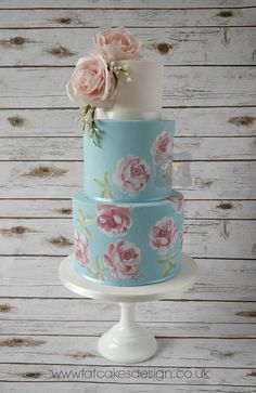 hand painted roses on blue wedding cake with pink rose cascade top tier Elegant Wedding Cakes, Wedding Cake Designs, Wafer Paper Cake, Sugar Craft, Cake Gallery, Cake Shop, Edible Art, Pretty Cakes, Cake Creations
