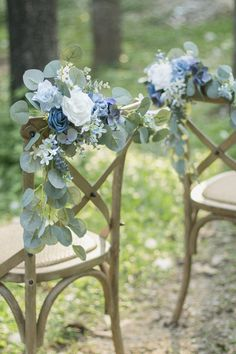 Dusty Blue Wedding Aisle Chair Decorations - Set of 8 Pew Flowers, Blue Wedding Flowers, Bridal Flowers, Floral Wedding, Wedding Bouquets, Diy Wedding, Church Wedding, Wedding Photos, Gothic Wedding