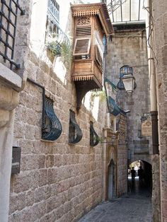 Visited this street when we took the bus from Damascus. hotel Beit al Wakeel. loved the courtyard grand house. Old streets - Aleppo City Siria. Islamic Architecture, Art And Architecture, Architecture Details, The Beautiful Country, Beautiful Places, Syria Before And After, Aleppo City, New Urbanism, Medieval World