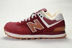 Joes New Balance ML574CAO Sneakers Canteen Suede Burgundy White Wool Fur Winter Mens Shoes