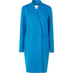 L.K. Bennett Sandra Blue Cashmere Coat ($680) ❤ liked on Polyvore featuring outerwear, coats, blue, women, cashmere coat, blue coat, collarless coat and l.k.bennett