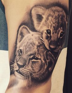 50 Eye-Catching Lion Tattoos That'll Make You Want To Get Inked - KickAss Things - Susanne F. van Zeeland - 50 Eye-Catching Lion Tattoos That'll Make You Want To Get Inked - KickAss Things lion cubs tattoo © tattoo artist Ljungberg Tattoo 💟🙊💟🙊💟🙊💟 - Lioness And Cub Tattoo, Lion Cub Tattoo, Lioness And Cubs, Cubs Tattoo, Tattoos Phönix, Baby Tattoos, Sleeve Tattoos, Tatoos, Family Tattoo Designs