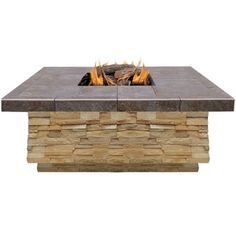 Shop for 48 in. Natural Stone Propane Gas Fire Pit in Brown with Log Set and Lava Rocks. Get free delivery at Overstock.com - Your Online Garden