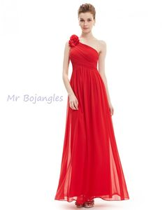 Red One Shoulder Evening Dress - Size 16