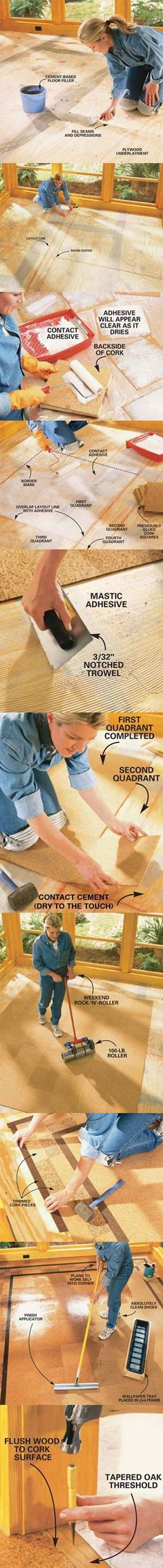 We'll show you everything you need to install a cork floor. Cork flooring is a natural, renewable product that's easy to install yourself with basic tools. It's also attractive, quiet underfoot and easy to clean. It's a great choice for living rooms, offices and even the kitchen. Get all the steps at http://www.familyhandyman.com/DIY-Projects/Flooring/Floor-Installation/how-to-install-cork-tile-flooring/View-All
