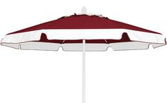 FiberBuilt Umbrellas and Cushions-The Market Umbrella  Available in 7.5ft,9ft & 11ft Octagon and 6ft & 7.5ft Square, Push Up, Pulley & Pin or Crank Lift, Made with Sunbrella Marine Grade Solution Dyed Acrylic Fabric. Picture Shows, Burgundy Fabric (4631)  ADDED SCALLOPED VALANCE in Natural White (4604) alexis@fiberbuiltumbrellas.com Market Umbrella, Pulley, Umbrellas, Picture Show, Valance, Burgundy, Cushions, Patio