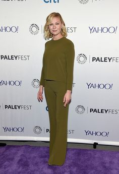 "Kirsten Dunst Photos - Kirsten Dunst attends PaleyFest New York 2015 - ""Fargo"" at The Paley Center for Media on October 2015 in New York City. - PaleyFest New York 2015 - 'Fargo' Kirsten Dunst, Paley Center, Red Carpet Dresses, Celebs, Celebrities, Hair Inspiration, Fashion Inspiration, Olive Green, Blonde Hair"