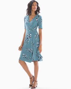a9f388ae9 Soma Elbow Sleeve Faux Wrap Short Dress Modern Brush Atlantic