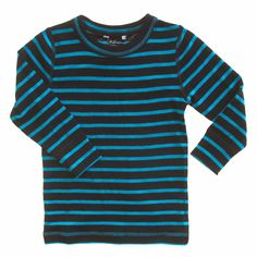 Linzi Merino Black and Blue stripe Thermal Top