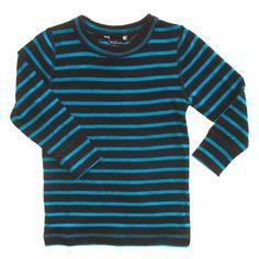 Linzi Merino Black and Blue stripe Thermal Top