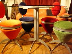Eames, Space Age, Vintage Industrial Strength, Steel & Glass Kitchen Table.