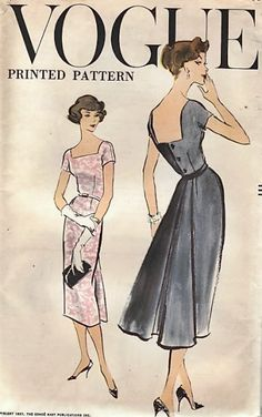 1950s COCKTAIL DRESS PATTERN LOW BACK VOGUE 9341