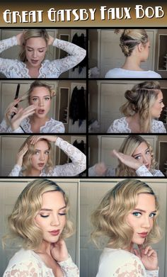 New wedding hairstyles updo gatsby faux bob 33 ideas Vintage Updo, Look Vintage, Vintage Hairstyles, Bob Hairstyles, Flapper Hairstyles, Gatsby Hairstyles For Long Hair, 1920s Hair Short, Ladies Hairstyles, 1920s Style Hair