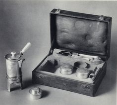 Traveling Coffee Service, late 19th century. Silver, ivory, leather