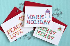 Plaid Holiday Cards  Multipack of 12 by threelttlwords on Etsy, $24.00