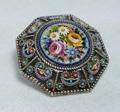 """Micro-Mosaic-Pin-Brooch-with-Beautiful-Flowers-800-Silver-Octagon    The brooch measures 1 2/16"""" wide."""