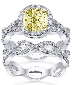 Fancy yellow diamond engagement ring with matching wedding ...