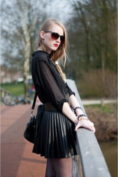 Black Sheer Button Up Blouse + Studded Belt + Leather Pleated Skirt + Sheer Black Tights