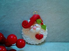 Santa Holiday Ornament Polymer Clay by countrycupboardclay