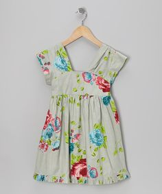 Take a look at this Green Rose A-Line Dress - Toddler & Girls by Yo Baby on today! by cici li Toddler Girl Dresses, Little Girl Dresses, Girls Dresses, Toddler Girls, Baby Girl Closet, My Baby Girl, Baby Girls, Modelos Fashion, Green Rose