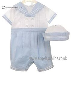 Sailor boys romper & hat for christenings by Sarah Louise. Wedding outfits for baby boy by designer Sarah Louise. Special baptism clothes for boys by Sarah Louise.