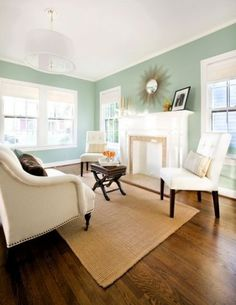 Gorgeous colors - this would be great for our master bedroom. Aqua Smoke Paint color by Behr