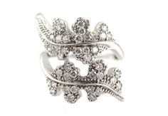 10k White Gold & Diamond Leaf Ring by Yourgreatfinds on Etsy, $895.00