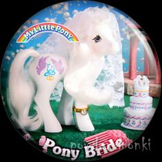"Retro Toy Badge/Magnet - My Little Pony Y8 ""Pony Bride"" www.powdermonki.co.uk"