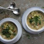 Creamy Potato Chowder with Bacon, Corn and Kale (gluten and dairy free)