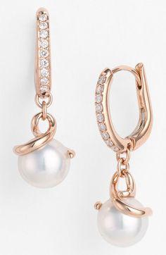Mikimoto Akyoka Cultured Pearl Diamond Earrings in White (rose gold)